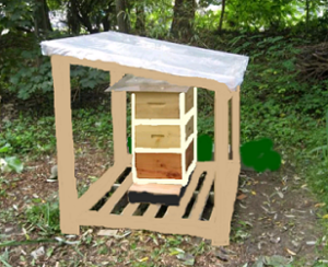 Beehive with rain shelter